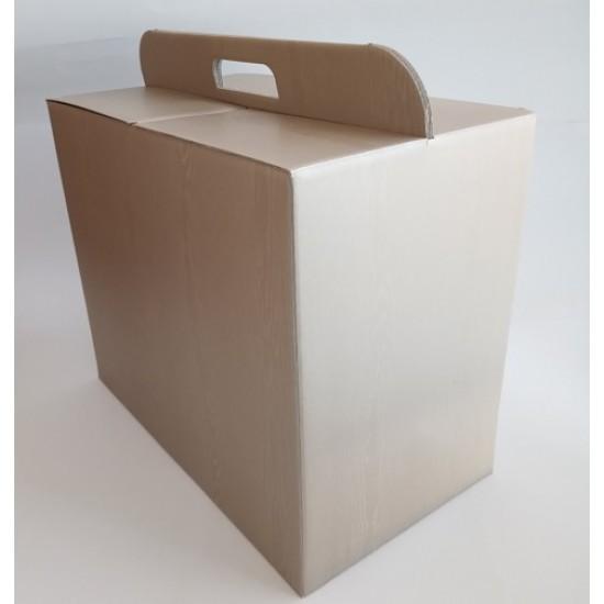 Κουτιά Δώρων Ασημί Απομίμηση Ξύλου Με Χεράκι