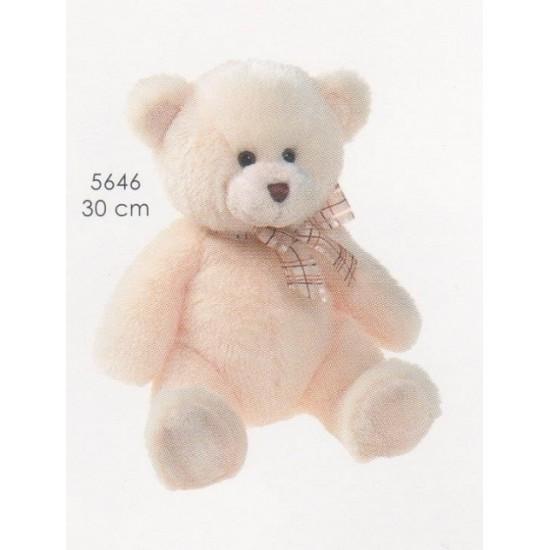 Αρκουδάκι Χρώμα Άσπρο Με Κορδέλα 30cm